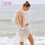 Crochet d'insérer Backless Tassel Tie POM POM couvrir jusqu'Robe de plage