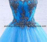 Laço azul de Tulle do vestido de esfera que perla vestidos de noite