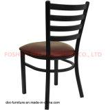 Présidence de restaurant en métal de dos d'échelle de noir de meubles de restaurant avec la portée de vinyle de Bourgogne