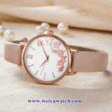 Custom cuero damas relojes de cuarzo Wist aleación, Mujer Watch (WY-17047)