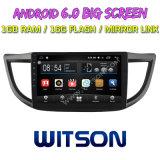 """Witson 10.2 """"ホンダオリジナルスクリーンとのCRVののための大きいスクリーンのアンドロイド6.0車DVD中間か高い2012-2015年"""