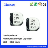 condensador de baja impedancia de la alta calidad SMD de 100UF 25V