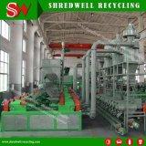 El polvo de caucho de la planta productiva que para el reciclaje de chatarra y residuos de neumáticos usados/