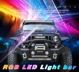 Barra ligera campo a través cambiante sin hilos de la pulgada LED de los colores 120W 22 del RGB 5D del control de la cubierta de aluminio para el Wrangler del jeep