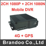 Cartão SD duplos Mobile DVR 4CH H. 264 Car DVR com 1080p e 1080n
