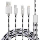 2.1A il nylon 3 in-1 digiuna cavo di dati del USB del telefono mobile (reticolo)