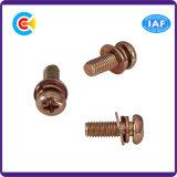 DIN/ANSI/BS/JIS Carbon-Steel/Stainless-Steel Arandela elástica Combo Tornillos de cabeza plana
