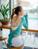 可逆伸縮性があるヨガの衣服の適性のQuick-Dry長い袖のダンスの摩耗