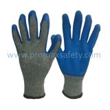 Перчатки связанные Tc с голубым латексом Plam покрывая пряжу 2