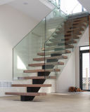반대로 미끄러짐 보행 플로트 유리 층계를 가진 단단한 나무로 되는 실내 계단 디자인