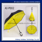 OEM de Promotie Omgekeerde C Omgekeerde Paraplu van het Handvat