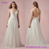 Crisscross планки и низкое открытое назад платье венчания