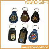 Personalizados artesanais promocional chaveiro imitação de couro e Metal Keyring (YB-K-006)