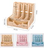 Organizador de escritorio de bricolaje en madera con 4 columnas Rack Archivo D9121