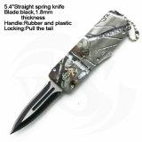 """5.4 """" fecharam a faca reta da mola do punho plástico de borracha com lâmina preta"""