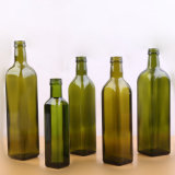 アルミニウム帽子が付いているオリーブ油のびんを調理する500ml正方形の深緑色ガラス