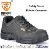 Sapatas de segurança de couro respiráveis e duráveis com o tampão de aço do dedo do pé