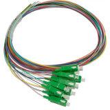 12カラーLC/APC Sm光ファイバはマルチピグテールに送風する