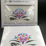 2018 Bling Glitter piel ojos Sticker adhesivo acrílico cristal Gema Diamante pegatinas de Tórax (E41).