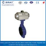 Terminar el tipo válvula de la oblea SS304 de mariposa con el actuador neumático