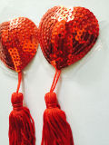 Pasteles autos-adhesivo atractivos de la dimensión de una variable del corazón de la cubierta de la borla del cequi de las mujeres