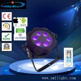 米国のソックスIP65 9PCS*18W 6in1 Rgbaw+UVは電池無線LEDの同価ライト屋外の無線電信LEDプロジェクターライトを防水する