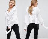 Дамы Collarless блуза с длинным втулку блуза