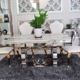 Acciaio inossidabile moderno e naturale creativo della Tabella pranzante del marmo di Arianna