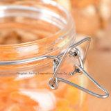 1L de duidelijke Vierkante Fles van de Honing van het Glas van de Vorm met Klem GLB