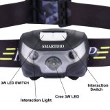 Sensor de movimiento resistente al agua de la luz de faro LED CREE Faro Faro recargables USB manos libres