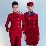 工場顧客用女性のダブルの赤いカラー航空会社のユニフォーム