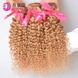 Het in het groot Menselijke Haar van de Krul van de Kleur van de Blonde van Remy van de Opperhuid van het Weefsel van het Haar van Brazilië Kroezige Krullende Maagdelijke Braziliaanse