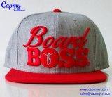 Fábrica gris del sombrero del Snapback del sombrero de las lanas en China