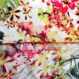Crepe de licra Prined Rayon Fabric com flores para as mulheres vestidos