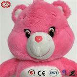 Beau jouet mou de qualité bourré par rose avec l'ours de nounours de coeur