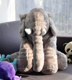 كبيرة يحشى فيل ليّنة حيوانيّ قطيفة لعب, [غري], 24 [إينش/60كم]