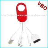 Câble de remplissage rapide 4 de trousseau de clés de qualité en 1 câble mobile multi de chargeur de véhicule d'USB
