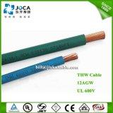 Tipo fio elétrico isolado PVC do UL 600V do edifício de Thw