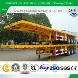40 Pés 3eixos de mesa para contentores semi reboque / reboque de cargas a granel / recipiente de plataforma plana Semi Carreta com travas de contentores / Mesa de contêineres de carga