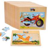 12PC en bois jouet éducatif pour enfants Cartoon Animal Puzzle du véhicule