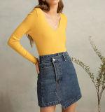 Cute Mini jupe en denim asymétrique avec croix sur le bouton Fermeture
