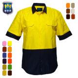 Overhemd van het Werk van de Veiligheid van de Koker van twee Toon het Korte Geeloranje