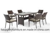 Moderner Entwurfs-im Freiengarten-Möbel-Rattan, das Set mit Tisch speist