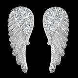 Orecchini delle donne del diamante degli orecchini dell'oro delle donne di Zircon di figura della piuma
