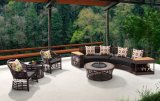 O sofá secional do sofá moderno da mobília do pátio ajustou-se com mobília do Rattan do PE