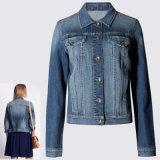 Klassieke Slanke Korte Retro Blauwe Dame Stretch Jean Biker Jacket