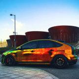 Tsautop Venta caliente 1.42 * 20m impermeable de la burbuja del aire auto adhesivo libre del vinilo del PVC que envuelve la etiqueta engomada del coche del cromo del laser del arco iris