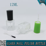 quadratische freie Glas12ml nagellack-Flasche mit Überwurfmutter