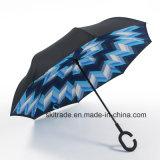 Зонтик цветастых новых деталей портативный Handsfree прямой обратный перевернутый