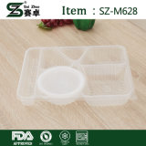 Rectangulaire Conteneur en plastique à usage unique en plastique de 6 compartiments avec couvercle (1000 ml)